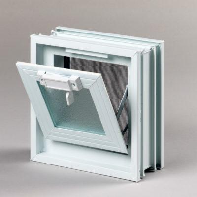 Okienko wentylacyjne 1x1 do luksferów do pustaków szklanych otwarte