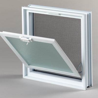 okienko wentylacyjne 2x2 do pustaków szklanych i luksferów otwarte