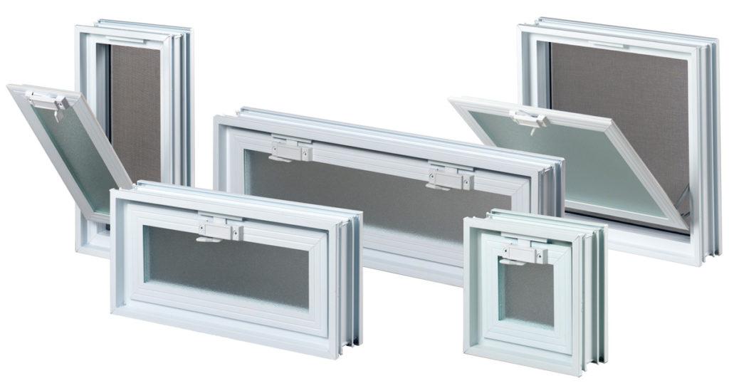 Różne rozmiary okienek wentylacyjnych do luksferów do pustaków szklanych